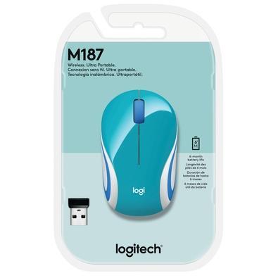 Mini Mouse Logitech M187 Sem Fio Verde Água 1000DPI