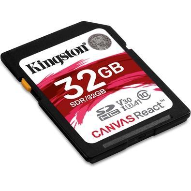 Cartão de Memória Kingston Canvas React SD Card 32GB Classe 10 - SDR/32GB
