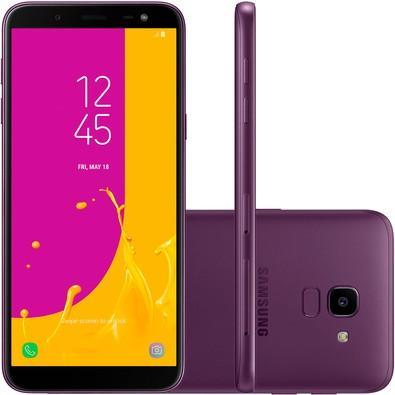 Smartphone Samsung Galaxy J6 SM-J600GZKBZTO, Octa Core, Android 8.0,Tela 5.6´, 32GB, 13MP, TV Digital HD, Dual Chip, Desbl - Violeta