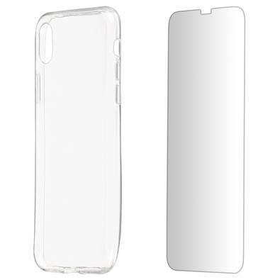 Kit 2 em 1 Celular Mart - Película de Vidro e Capa TPU Transparente Liso para Iphone XR
