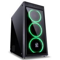 Gabinete Gamer PCYes Jupiter sem Fonte, Mid Tower, USB 3.0, 3 Fans LED Verde, Preto com Lateral e Frontal em Vidro - JUPPTVD3FCV