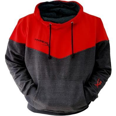 Moletom HyperX Oficial Modelo Canguru, Vermelho e Cinza - Tamanho M