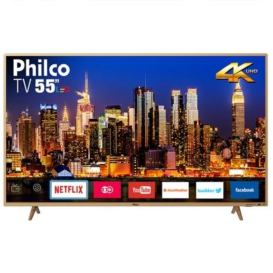 Smart TV LED 55´ 4K Philco, 3 HDMI, 2 USB, Wi-fi - PTV55F61SNC