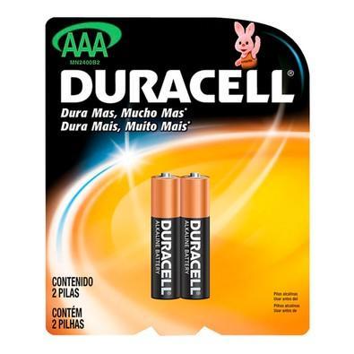 Pilha Duracell Alcalina Palito AAA com 2 Unidades - MN2400B2