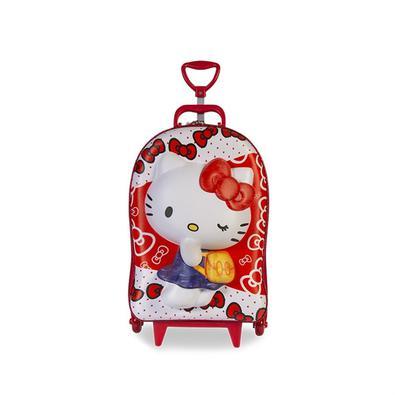 Mochila Escolar Hello Kitty Red 3D com Rodinhas e Lancheira MaxToy