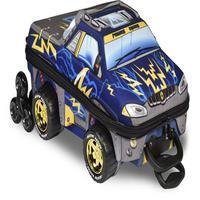 Mochila Escolar 3D com Rodinhas e Lancheira MaxToy Pickup Chrome Weels Azul