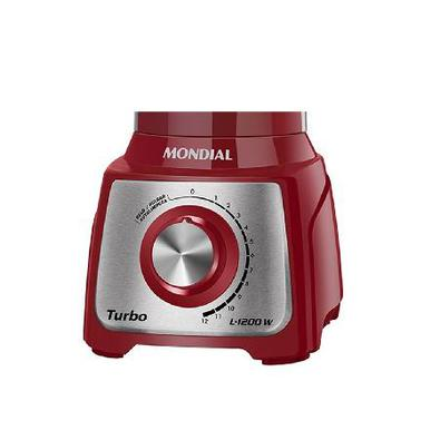 Liquidificador Mondial Turbo Inox, 12 Velocidades, 1200W, 110V, Vermelho/Inox - L-1200 RI