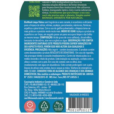 Limpa Vidros Biowash 650ml com Gatilho Pulverizador