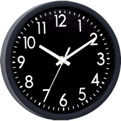 Relógio de parede plástico preto