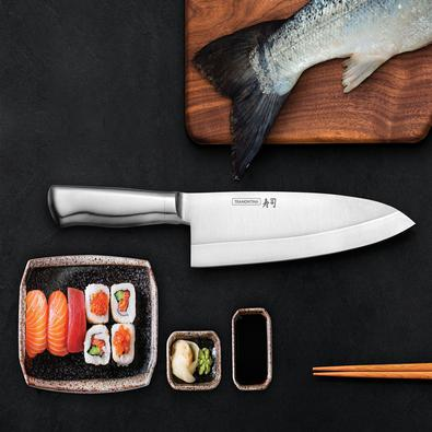 Faca Deba Tramontina Sushi Diamond com Lâmina e Cabo em Aço Inox 8