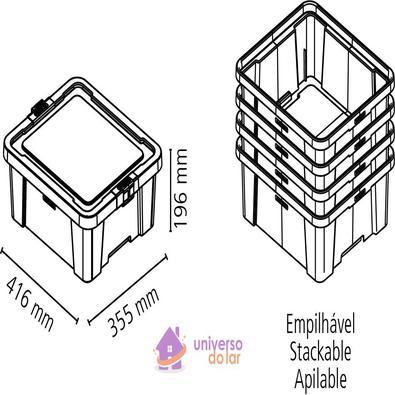Caixa Organizadora 17L Fumê Basic Tramontina