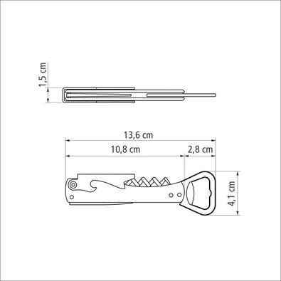 Abridor com Saca Rolhas e Canivete Tramontina Harmoniza com Lâminas em Aço Inox e Corpo em ABS Preto Tramontina