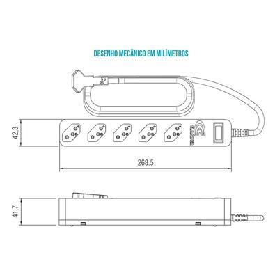 DPS + Filtro de linha 5 tomadas iClamper Energia 5 - Proteção contra raios e surtos elétricos, Branco, Bivolt - DPS 10871