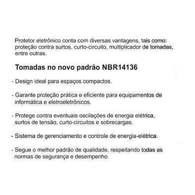 Protetor Eletrônico Emplac, 500VA, 300W, Monovolt 127V/115V, 4 Tomadas 10A, Cabo de 1 Metro, Preto - F60000