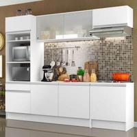 Cozinha Completa Compacta Madesa Topazio com Armário, Balcão e Tampo Branco Cor:Branco