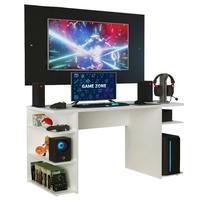 Mesa Gamer Madesa 9409 e Painel para TV até 58 Polegadas, Branco/Preto