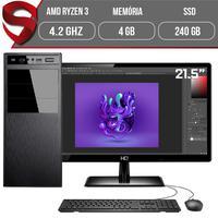 "Computador Skill Graphics Completo, Ryzen 5 3400G 4.2GHz, 4GB DDR4, SSD 240GB com Monitor HDMI 21.5"""