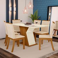 Conjunto Sala de Jantar com 6 Cadeiras Kesha e Mesa com Tampo MDF