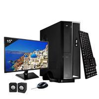Mini Computador ICC SL2382Cm15 Intel Core I3 8gb HD 1TB DVDRW Kit Multimídia Monitor 15 Windows 10