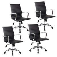 Conjunto com 4 Cadeiras Diretor Boston Giratória com Regulagem de Altura à Gás, Esteirinha