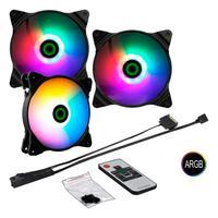 Kit 3 Fan Argb+cont Remoto Gamemax Force 323 - Fn-12rainbow-c2