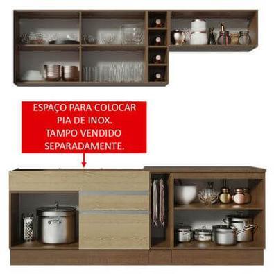 Cozinha Completa Madesa Parma com Armário e Balcão (Sem tampo e Pia) Rustic/Saara/Rustic Cor:Rustic/Saara/Rustic
