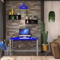 Mesa Em Metal Com Tampo De Aço Colorido   Tam: 120x60   Cor: Azul E Branco