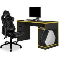 Kit Mesa Para Pc Gamer Legend Preto Amarelo E Cadeira Gamer Tgc12 H01 Thunderx3 Preto - Lyam Decor
