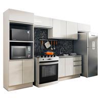 Cozinha Completa Madesa Acordes 100% MDF Com Armário e Balcão Portas Branco Brilho Cor:Branco