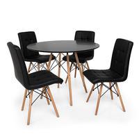 Kit Mesa Jantar Eiffel 90cm Preta + 04 Cadeiras Gomos - Preta