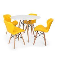 Kit Mesa Jantar Eiffel 100cm Branca + 04 Cadeiras Slim - Amarela