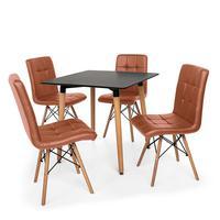 Kit Mesa Jantar Eiffel 80x80 Preta + 04 Cadeiras Gomos - Marrom
