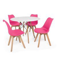 Kit Mesa Jantar Eiffel 100cm Branca + 04 Cadeiras Leda - Rosa