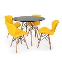 Kit Mesa Jantar Eiffel 90cm Preta + 04 Cadeiras Slim - Amarela