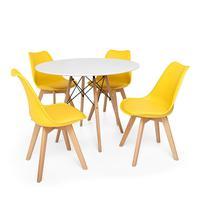 Kit Mesa Jantar Eiffel 80cm Branca + 04 Cadeiras Leda - Amarela