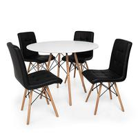 Kit Mesa Jantar Eiffel 80cm Branca + 04 Cadeiras Gomos - Preta