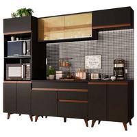 Cozinha Completa Madesa Reims 260002 com Armário e Balcão Preto
