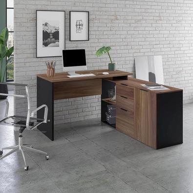 Mesa L Diretor Escritório Home Office 150x150 Marrom Preto