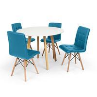 Conjunto Mesa De Jantar Laura 100cm Branca Com 4 Cadeiras Eiffel Gomos - Turquesa