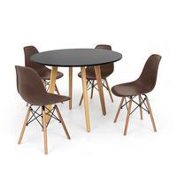 Conjunto Mesa De Jantar Laura 100cm Preta Com 4 Cadeiras Charles Eames - Marrom