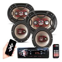Kit Som Automotivo Bluetooth Auto Falante Bravox 6 + 6x9 Kit Bravox Facil + Radio