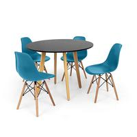 Conjunto Mesa De Jantar Laura 100cm Preta Com 4 Cadeiras Charles Eames - Turquesa