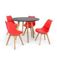 Conjunto Mesa De Jantar Laura 100cm Preta Com 4 Cadeiras Eames Wood Leda - Vermelha