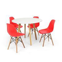 Conjunto Mesa De Jantar Laura 100cm Branca Com 4 Cadeiras Charles Eames - Vermelha