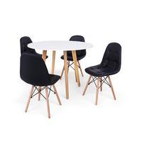 Conjunto Mesa De Jantar Laura 100cm Branca Com 4 Cadeiras Charles Eames Botonê - Preta