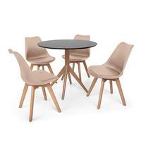 Conjunto Mesa De Jantar Maitê 80cm Preta Com 4 Cadeiras Eames Wood Leda - Nude