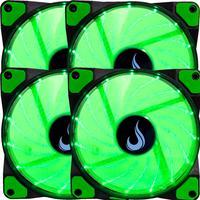 Kit com 4 Cooler - Fan Rise Mode, 120mm, Led Verde - Rm-wn-01-bg