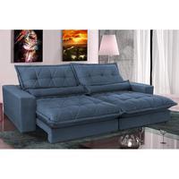 Sofa Retrátil E Reclinável 3,12m Com Molas Ensacadas Cama Inbox Soft Tecido Suede Azul