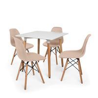 Kit Mesa Jantar Eiffel 80x80 Branca + 04 Cadeiras Charles Eames - Nude