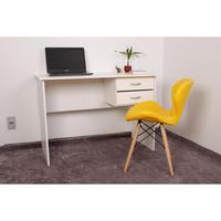 Kit Escrivaninha Com Gaveteiro Branca + 01 Cadeira Eiffel Slim - Amarela